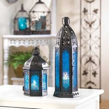 "30 BLACK BLUE Candle LANTERN Wedding CENTERPIECES 13"" Tall image 2"