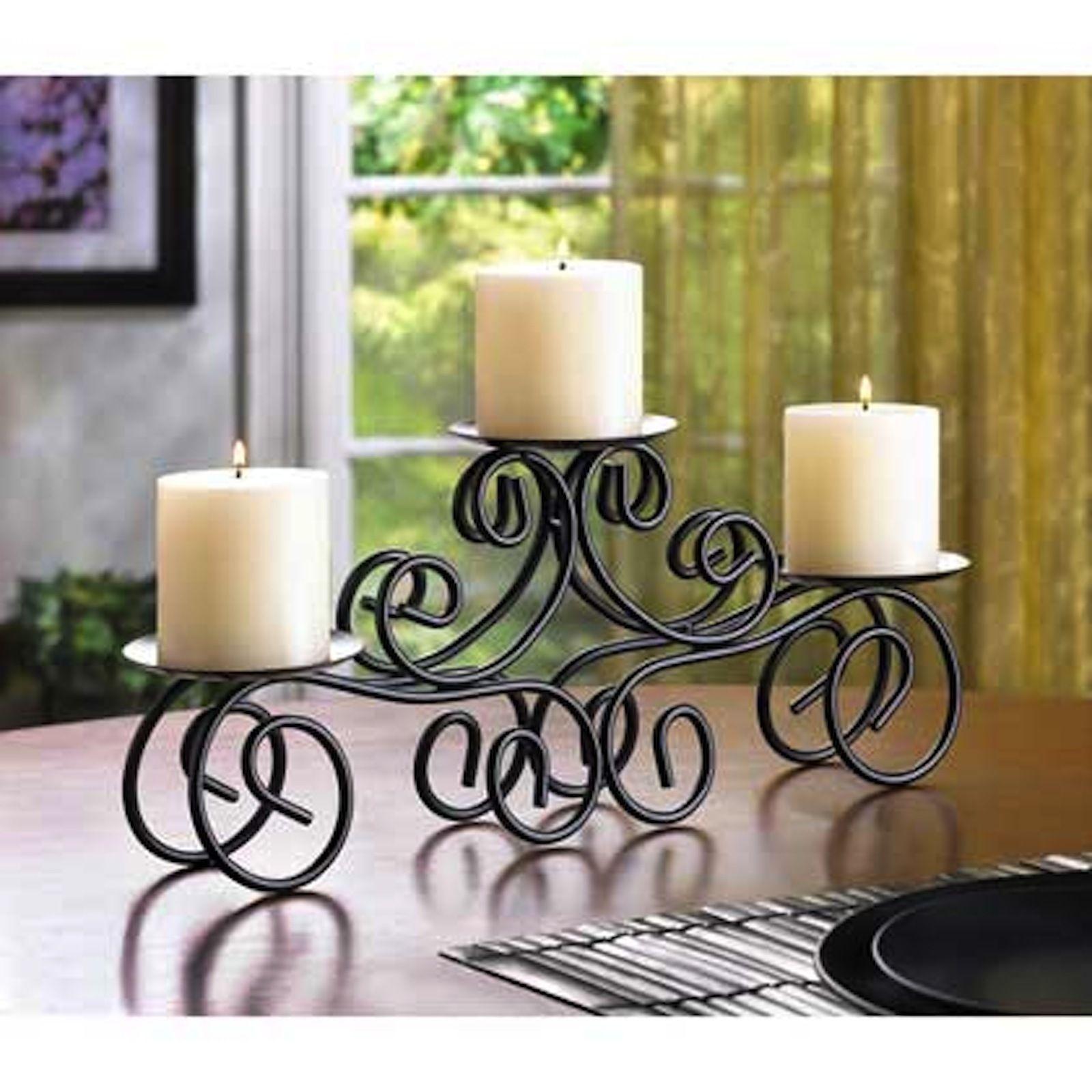 10 Black Candle Stand SCROLLWORK Pillar Stand WEDDING CENTERPIECES