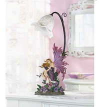 2 Fairy Orchid Girl Bedroom Purple Table Lamp Set of Two - New image 1