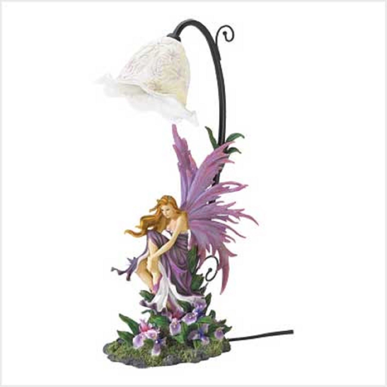2 Fairy Orchid Girl Bedroom Purple Table Lamp Set of Two - New