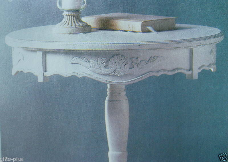Lot 2 Round Tables CARVED WHITE Accent TABLE New image 2