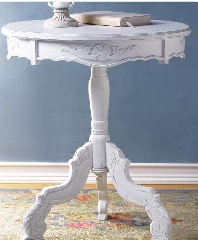 Lot 2 Round Tables CARVED WHITE Accent TABLE New image 4