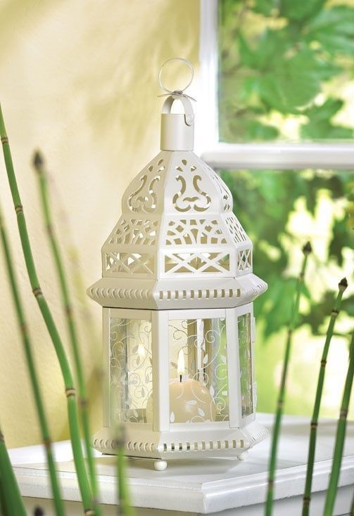 20 White Moroccan Style Lantern Candleholder Wedding Centerpieces image 2