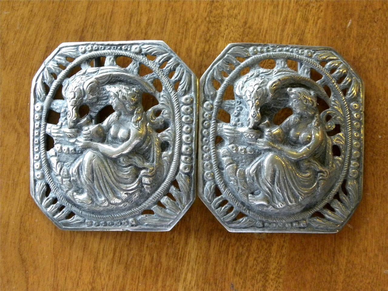 Victorian LEDA & SWAN Silver Belt Buckle HEBE & EAGLE