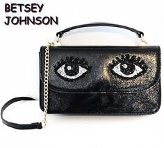 BETSEY JOHNSON Cat Eyes Handbag Wallet Black Purse NWT - $59.39