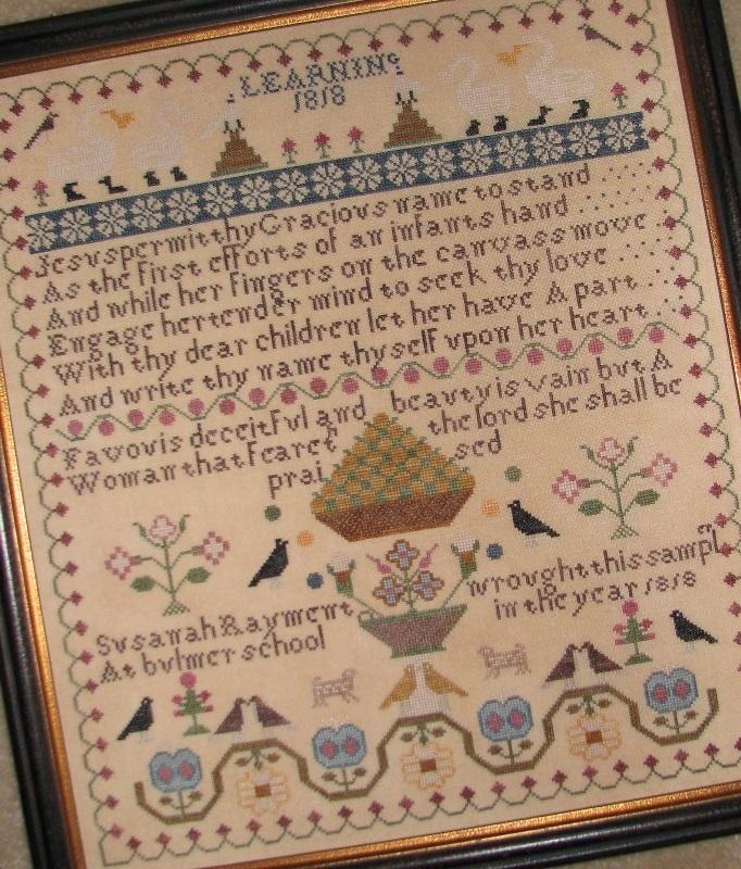 Susanah Rayment Learning 1818 Sampler cross stitch chart Black Branch Needlework