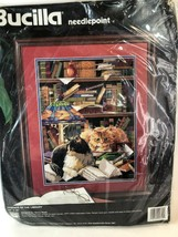 Friends of the Library Bucilla Needlepoint Kit New/Unopen Cats Books Vtg 1995 - $39.59