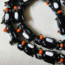 Black and White Penguin Lampwork Glass Beads, 20mm, 2 beads image 3