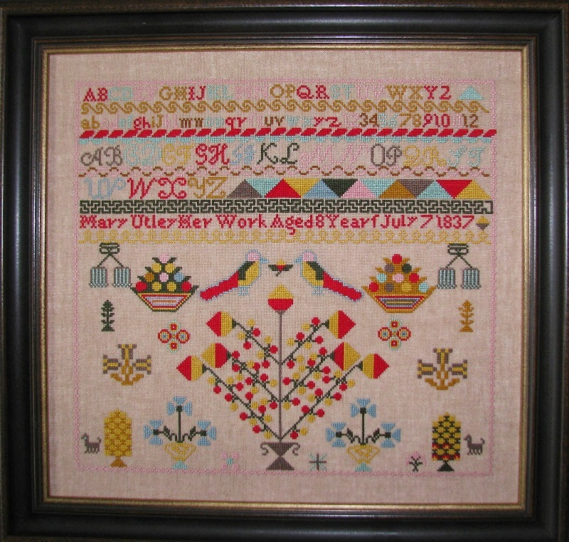 Mary Utley 1837 Sampler reproduction cross stitch chart Black Branch Needlework