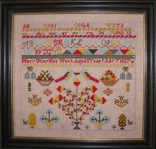 Mary Utley 1837 Sampler reproduction cross stitch chart Black Branch Needlework image 1