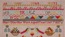 Mary Utley 1837 Sampler reproduction cross stitch chart Black Branch Needlework image 2