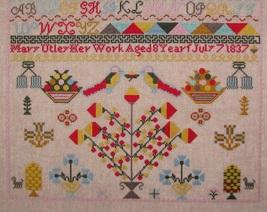 Mary Utley 1837 Sampler reproduction cross stitch chart Black Branch Needlework image 3