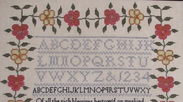 Margaret Morley 1840 Sampler reproduction cross stitch chart Black Branch Needle image 2