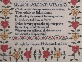 Margaret Morley 1840 Sampler reproduction cross stitch chart Black Branch Needle image 3