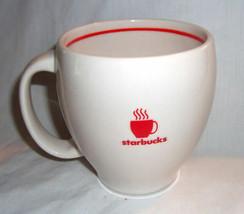 Starbucks 2004 Abbey White Red Band Steaming Coffee Mug Large 12 oz - $15.99