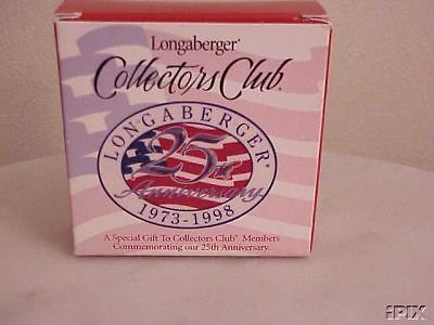 Longaberger Basket Tie On 25th Anniversary Flag Collector Club New In Box