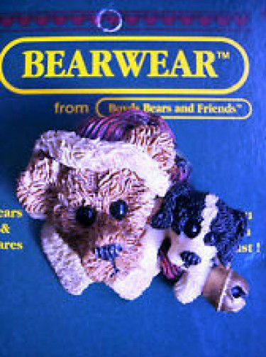 """Boyds Bearwear """"Northrup & The Pup"""" Resin Christmas Pin #26008*New"""