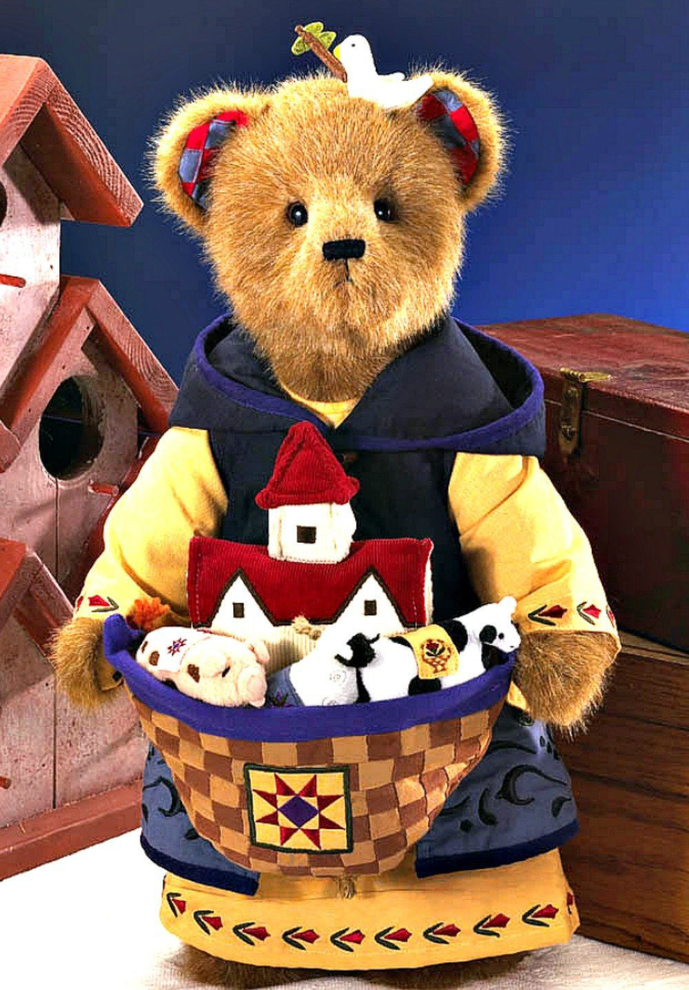 "Boyds Bears - Jim Shore ""All Aboard"" #92006-16 - 20"" Plush Bear-NWT-2008-Retired"