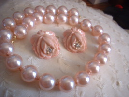 Vintage Plastic Jewelry Pink Rose Earrings Necklace - $16.00