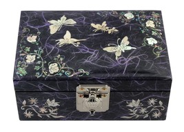 Lacquer inlaid mother of pearl wood  trinket jewelry jewel box butterfly... - $51.15