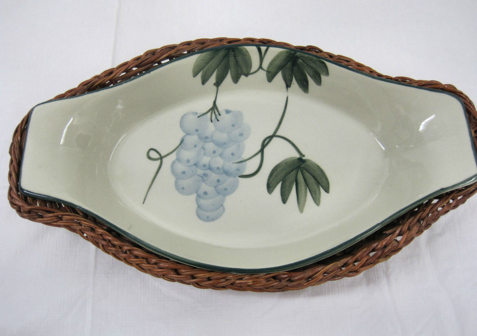 Hand Painted Grapes Pottery Serving Warming  Dish  Bowl Basket  Table Display