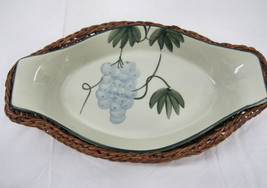 Hand Painted Grapes Pottery Serving Warming  Dish  Bowl Basket  Table Display image 1