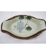 Hand Painted Grapes Pottery Serving Warming  Dish  Bowl Basket  Table Di... - $32.95