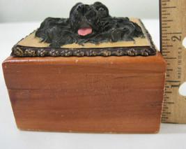 English Cocker Spaniel Black Dog Puppy Wooden Trinket Box Vintage 3 ins image 2