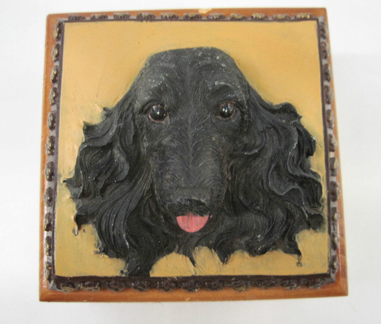 English Cocker Spaniel Black Dog Puppy Wooden Trinket Box Vintage 3 ins