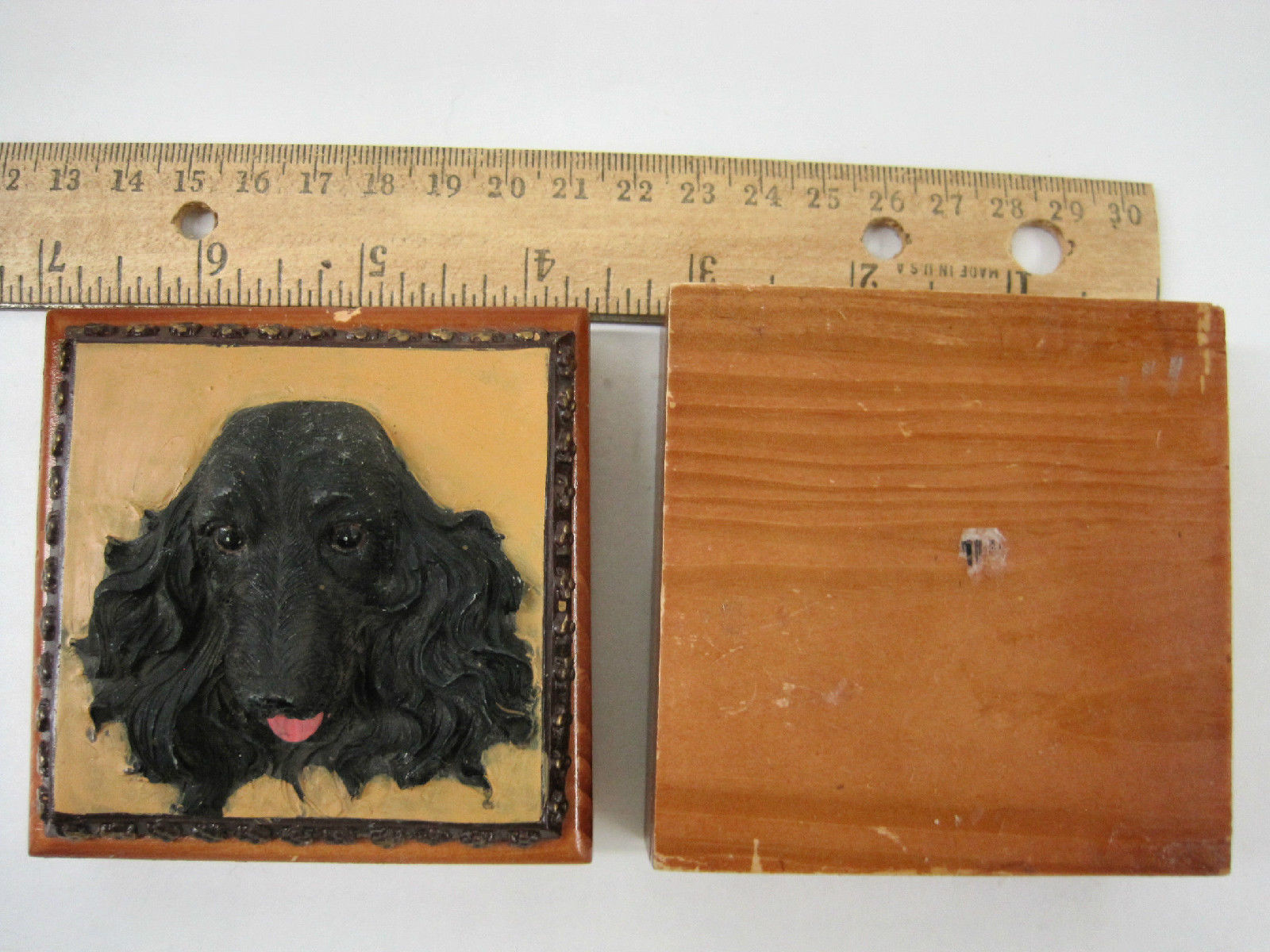 English Cocker Spaniel Black Dog Puppy Wooden Trinket Box Vintage 3 ins image 5