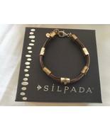 "Silpada Tan Lines Sterling Silver Brass Genuine Leather Bracelet 8""  B3324 - $47.04"