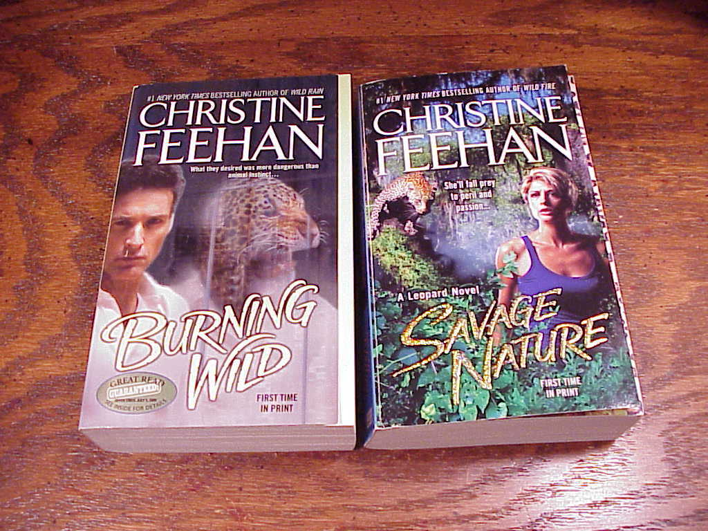 Leopard Series PB Books by Christine Feehan, 3, 5, Burning Wild, Savage Nature