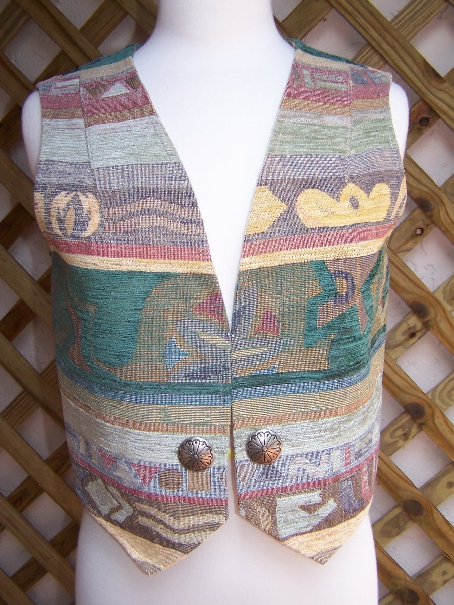 Vest Small  Multi Color  Tapestry  Conchos  Sedona  As New
