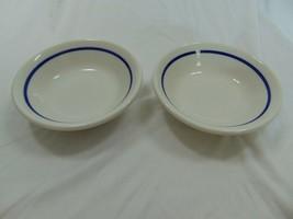 Homer Laughlin Restaurant Ware Dessert Bowls Blue Stripe Set of 2 - $23.38