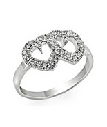 Silver Tone Two Heart Cubic Zirconia Ring - SIZE 6, 7, 8 - $10.12