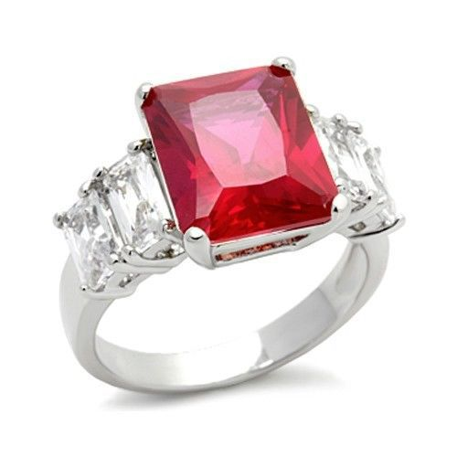 THREE STONE CZ RING - Ruby Red & White Cubic Zirconia Ring - SIZE 6, 9, 10