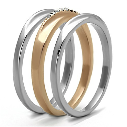 Rose Gold Tone Stainless Steel Top Grade Crystal 3 Ring Set - SIZE 5 - 10 image 3