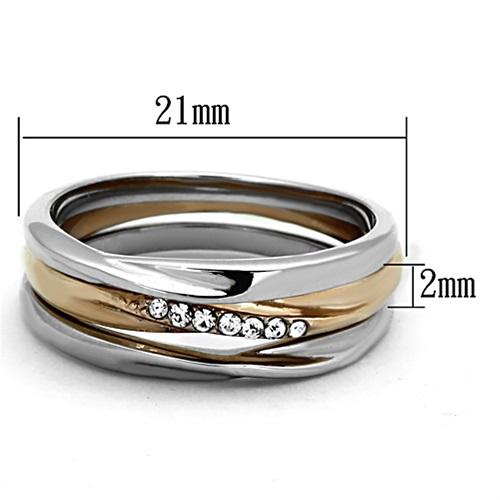 Rose Gold Tone Stainless Steel Top Grade Crystal 3 Ring Set - SIZE 5 - 10 image 4