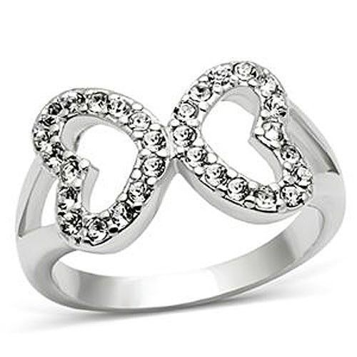 Silver Tone Love Shape Infinity Cubic Zirconia Ring - SIZE 5 TO 10