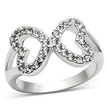 Silver Tone Love Shape Infinity Cubic Zirconia Ring - SIZE 5 TO 10 image 1