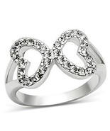 Silver Tone Love Shape Infinity Cubic Zirconia Ring - SIZE 5 TO 10 - $10.78