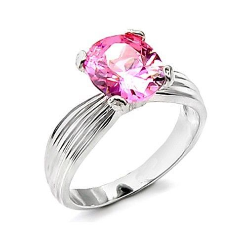 4 Prong Silver Tone Oval Shape Pink Solitaire Cubic Zirconia Ring - SIZE 5, 6, 9