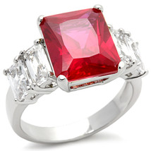 THREE STONE CZ RING - Ruby Red & White Cubic Zirconia Ring - SIZE 6, 9, 10 image 2
