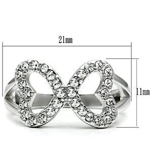 Silver Tone Love Shape Infinity Cubic Zirconia Ring - SIZE 5 TO 10 image 2