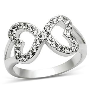 Silver Tone Love Shape Infinity Cubic Zirconia Ring - SIZE 5 TO 10 image 3