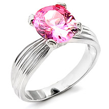 4 Prong Silver Tone Oval Shape Pink Solitaire Cubic Zirconia Ring - SIZE 5, 6, 9 image 2
