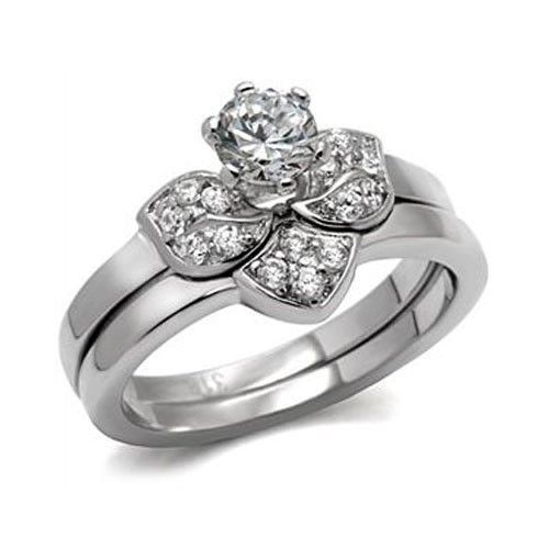 Never Fade Flower Design Stainless Steel CZ Wedding Ring Set Size - 5 to 10