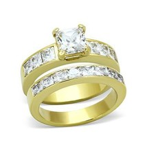 Gold Tone Stainless Steel Princess Cut CZ Engagement & Wedding Rings -SIZE 5-10 image 1