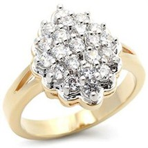 Gold Tone Cluster Cubic Zirconia Right Hand Ring - SIZE 10 OR OTHER SIZES image 1