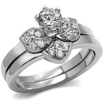 Never Fade Flower Design Stainless Steel CZ Wedding Ring Set Size - 5 to 10 image 3